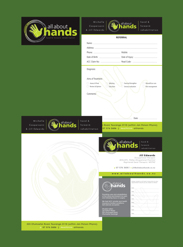 All About Hands Logo, Referral Pad, Note Pad & Business Card