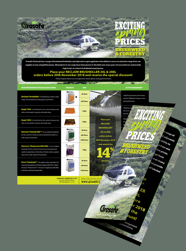 Grosafe brush weeds promotional flyers