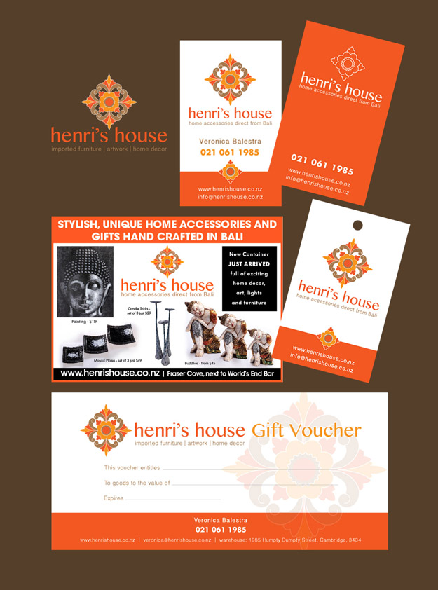 Henris House Logo, Business Card, Advertisement, Product Tag & Gift Voucher