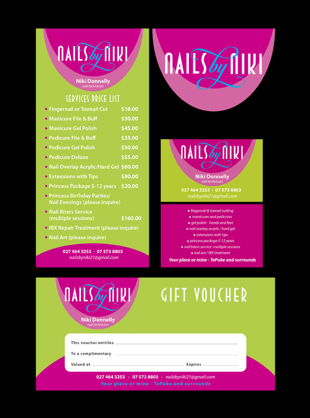 Nails by Nikki Logo, Price List, Business Card & Gift Voucher