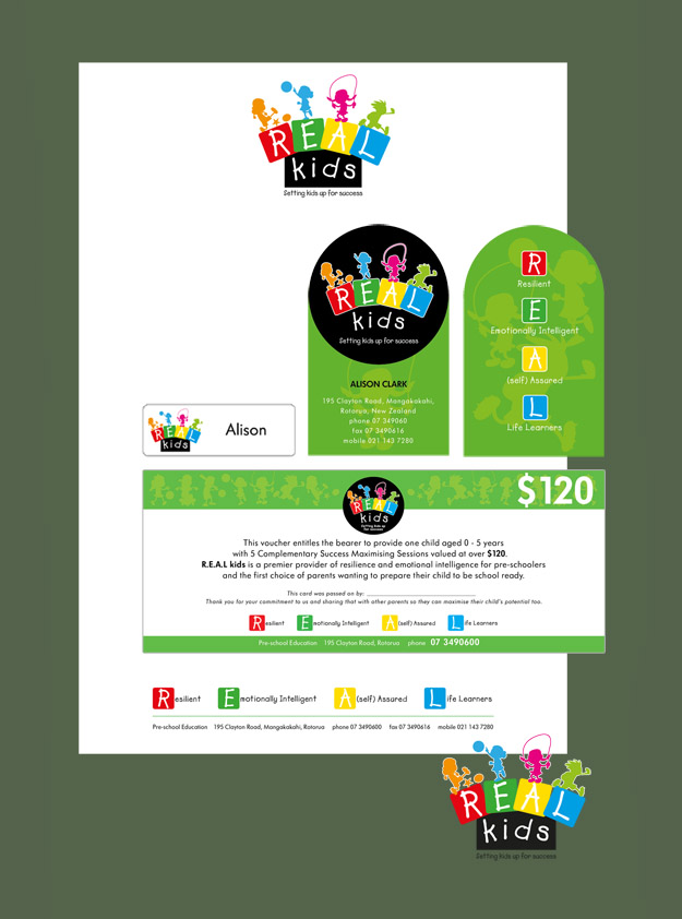 Real Kids Logo, Letterhead, Business Card, Name Tag & Gift Voucher