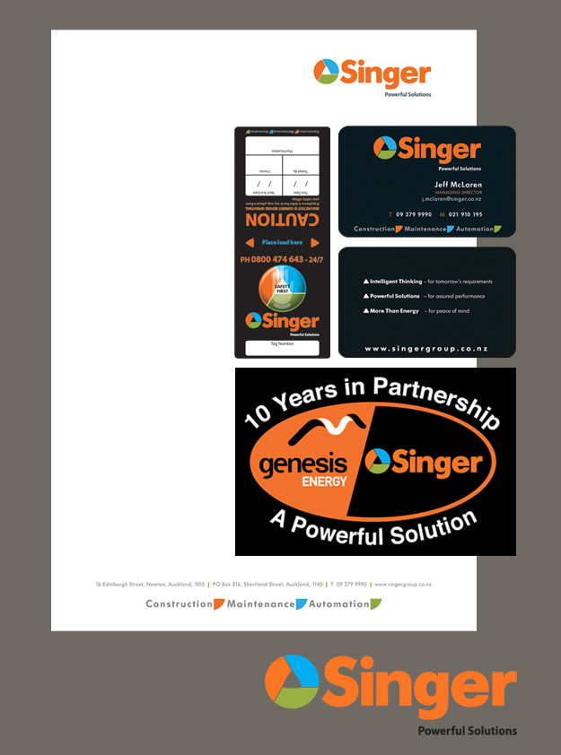 Singer Letterhead, Business Cards, Partnership Logo, Compliance Tag