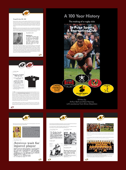 Te Puke Sports Rugby History Book Design