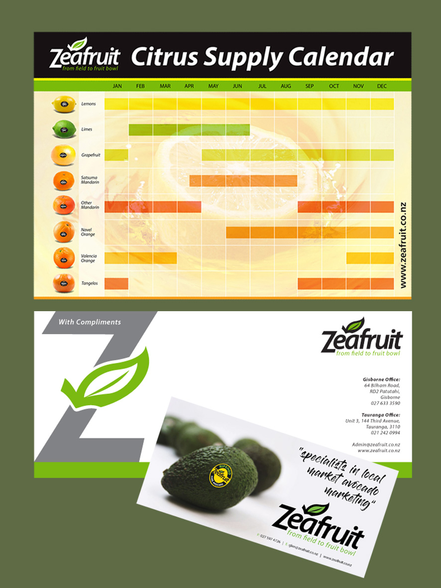 Zeafruit supply calendar, with comps, advert